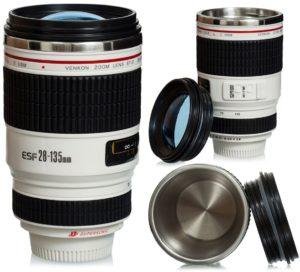 """Tasse à café couvercle lentille - Blanc Modèle """"Appareil photo digital"""""""